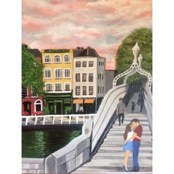 €50 pictures-of-ha'penny bridge dublin images nikkis art Ha'penny Bridge A3 Acrylic Watercolour