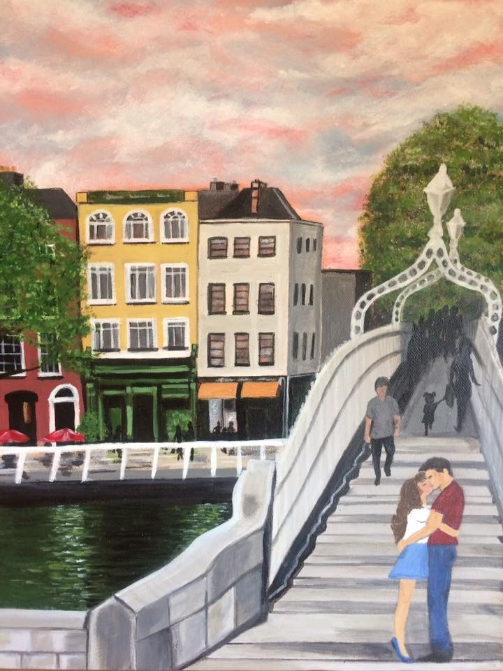 €50 pictures-of-ha'penny bridge dublin images nikkis art Ha'penny Bridge A3 Acrylic Watercolour