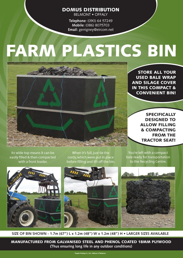 domus distribution farm waste plastic bins offaly
