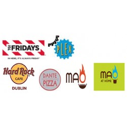 25% Off TGI Fridays, Hard Rock Cafe, Leisure Plex, Dante Pizza, Mao and Mao at Home