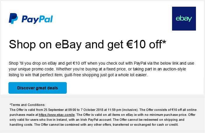 ebay ireland discount code €10 euro off voucher code coupon code